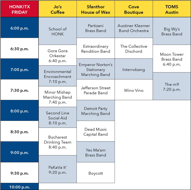 HONK!TX Friday Schedule
