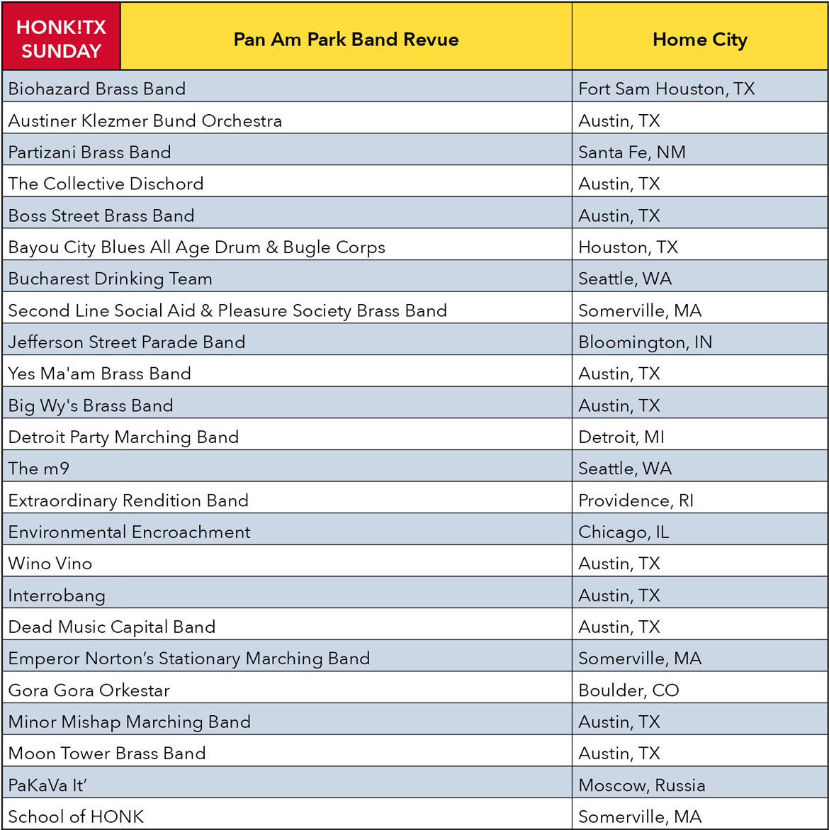 HONK!TX Sunday Schedule