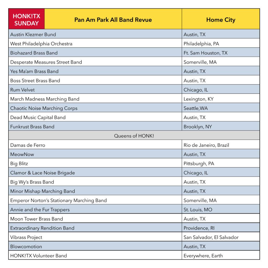Schedule - HONK!TX